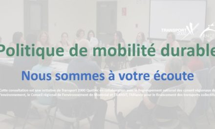 Politique de mobilité durable – Un sondage pour les organismes et les citoyens-utilisateurs du transport collectif